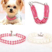 Ee _ UK _ 1Pcs Perro Collar Imitación Perlas & Bling Rosa Joyería para Mascotas