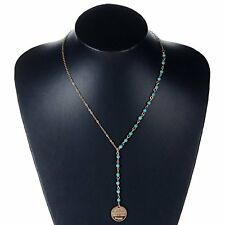 US Fashion Boho Turquoise Beaded Round Pendant  Long Chain Sweater Necklace Gift