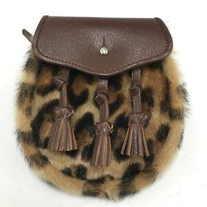 Stylish Sporran 20 x 18cm Brown Leopard Print Leather Scottish Tradition 181391