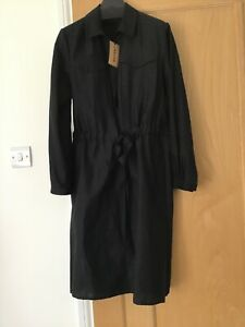 Reduced, Jaeger BNWT MIDI Shirt Dress, Black Cotton, UK 10
