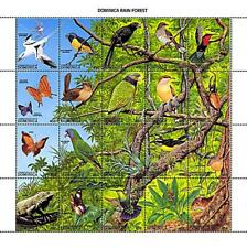 👉 DOMINICA 1988 Tropical BIRDS (folded) M/S MNH BUTTERFLIES, INSECTS, LIZARDS