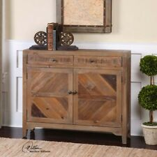 Rustic Reclaimed Wood 2 Door Storage Console Cabinet Southwestern Ranch Lodge