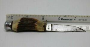 Vintage B. SVOBODA Solingen Germany Fixed Blade Hunting Knife STAG Handle 4 3/4