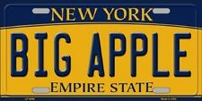 BIG APPLE New York State Background Metal Novelty License Plate