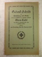 Gedenk-Schrift zur Enthüllung und Weihe Ehren-Tafel Neustadt bei Coburg 1922