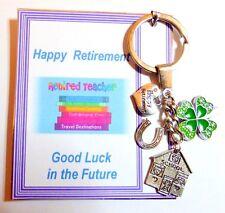 Teacher Happy Retirement Future Good Luck Keyring Gift 4 Leaf Clover Horseshoe