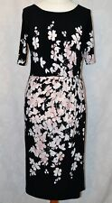 M&S COLLECTION Size 12L Lovely Black Floral Print Comfortable Flattering Dress