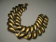 "Vintage Gold Tone Wide Linked Monet Bracelet, 7.5"" long. 1"" wide, 1960-1970's"