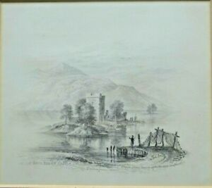 Very Fine Early 19th C Graphite. Loch Leven Castle. Drawn From Nature