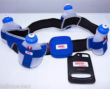 "FuelBelt Helium 4 Bottle Hydration Belt Blue Size XL 36-38"" Triathlon Fuel Belt"