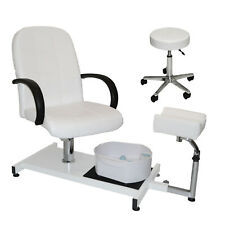 White Pedicure Station Hydraulic Chair & Massage Foot Spa Beauty Salon Equipment