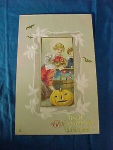 Early 20thc HALLOWEEN POSTCARD with KIDS BOBBING For APPLES At PARTY Scene