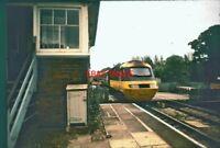 PHOTO  HST PASSING MIDGHAM RAILWAY STATION & SIGNAL BOX 1977