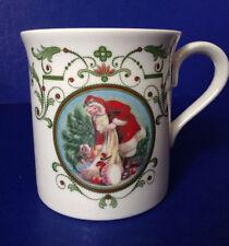 Lenox Christmas theme Ivory Coffee Mug w/ Victorian Santa Claus Gifts~red green
