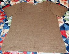 Coldwater Creek Womens Pull-Over Sweater  - Short Sleeve, Brown - Size 1X