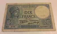 France Banknote. 10 Francs. Dated 1927. Vintage Note.