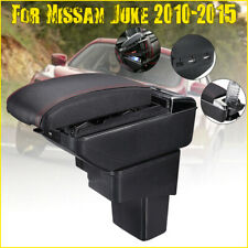 Black Central Armrest Console Cup Box Storage Leather For Nissan Juke 2010-2015