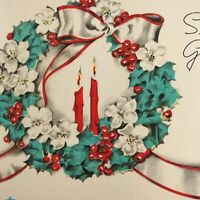 Vintage Early Mid Century Christmas Greeting Card Art Deco Wreath Candles Ribbon