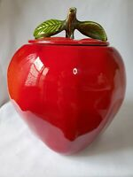 Large BRIGHT RED APPLE COOKIE JAR w LEAVES California Pottery #8214 Ceramic  EUC