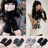 Fashion Women Knitted Fingerless Winter Gloves Unisex Soft Warm Long Mitten aua