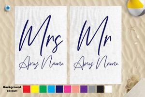 "Personalised Mr & Mrs Handwriting Microfibre 58 x 39"" Beach Towel Wedding Gift"