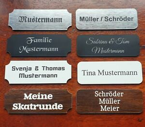 Briefkastenschild Klingelschild Türschild Namensschild mit Gravur selbstklebend