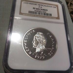 Rare 1979 New Caledonia Silver 50 Francs Piedfort NGC PF68