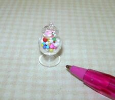 "Miniature Glass Candy Jar, 7/8"" Tall Filled with Gumballs: DOLLHOUSE 1/12"