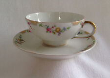 Vintage LIMOGES CUP & SAUCER Wm Guerin Yellow roses floral gold rim GUE17