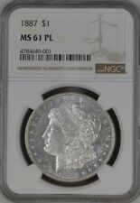 UNITED STATES 1887 $1 NGC MS 61 PL Proof like Mirror finish Morgan Dollar SLABED