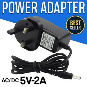 5V Volt Power Supply 3 Pin 2A UK Plug Charger AC/DC Adapter Black