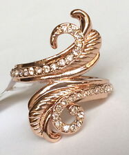 Rose Gold Plated Deco Cocktail Ring Peach Crystal Flower Swirl Size 7.5 USSeller