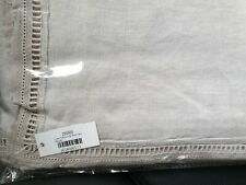 BRISSI LINEN GREY LACE BORDER TABLECLOTH 180CM X 140CM 100% LINEN RRP £98.00