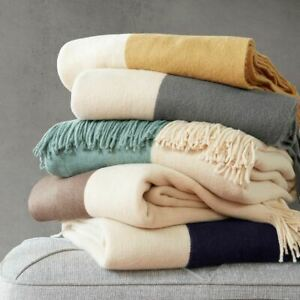 """Luxury Colorblock Faux Cashmere Throw Blanket w/Fringed Edges- 50x60"""""""
