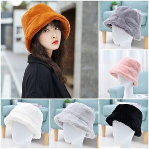 Women Ladies Winter Warm Hat Faux Fur Bucket Hat Caps Fashion Solid Soft Hat New
