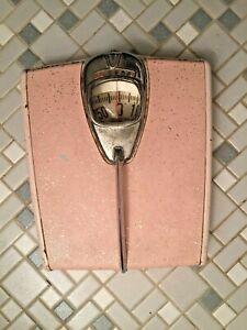 MCM Retro Vintage Detecto Chrome Pink Vinyl Silver Glitter Scale 1950