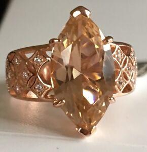 Morganite Simulant & White Cubic Zirconia 18k Rose Gold Over SS Ring Sz 8