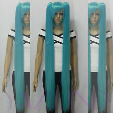 Vocaloid Hatsune Miku 2 Ponytails light blue party Cosplay full wig straight