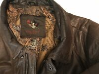 WARM Dinno Gallucci Mens Distressed Leather Bomber Jacket Brown Schott L XL EUC