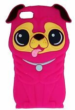Hot Pink Silicone Pug Shar Pei Dog Puppy Phone Case / Cover for Apple Iphone 4 /