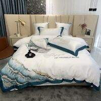 Luxury Satin Silk Cotton Chic Waves Bedding Set Duvet Cover Flat/Fitted Sheet