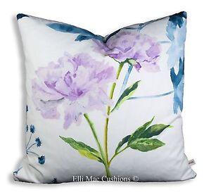 Designers Guild Mokuren Luxury Designer Fabric Indigo Lilac Cushion Cover