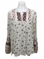 Knox Rose Long Sleeve Boho Floral Top Split Neck Blouse Women's Size M