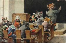 PC ARTHUR THIELE, ARTIST SIGNED, CATS IN THE SCHOOL, Vintage Postcard (b27588)