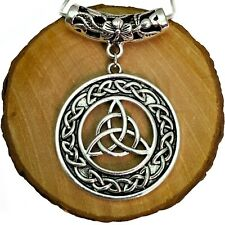 Antique Silver Tone Triquetra Celtic Knot Pendant On Silver Plated Snake Chain