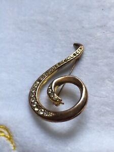 Gold Plated And Crystal Brooch -missing A Stone