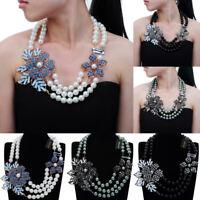 Fashion Pearl Chain Crystal Choker Chunky Statement Pendant Bib Necklace Jewelry