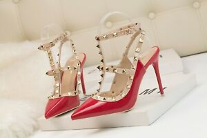 Rockstud Singback Strappy Patent Leather Studded 10cm Heels Pointy Women Shoes