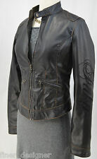 FUBU Jacket black Faux Leather Moto Jacket zip coat  Biker sexy crop light top S