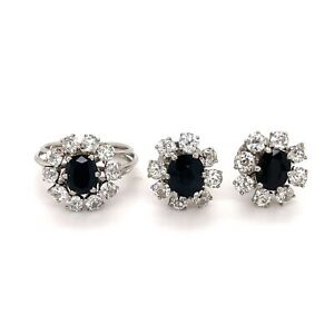 1960's Antique set of platinum diamond and sapphire earrings and ring size 5
